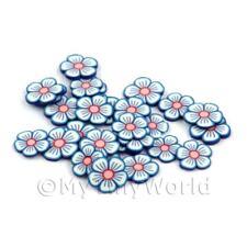 2x 50 rebanadas de caña de Flor Azul y Blanco-Arte en Uñas (dns90)