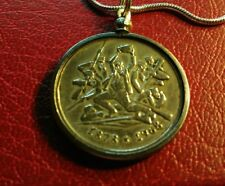 """Greek Macedonian Memorial 1878-1968 Coin Pendant w 24"""" White Gold Filled Chain."""