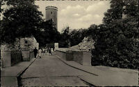 Bielefeld alte Postkarte ~1950/60 Partie an der Sparrenburg Brücke zum Eingang