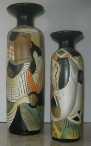 """2 Vases Large 16"""" and 12"""" Contemporary/Tribal/Abstract art sculpted relief tall"""