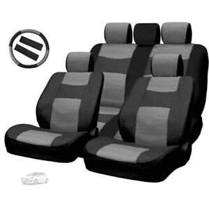 FOR HYUNDAI PREMIUM BLACK GREY SYNTHETIC LEATHER CAR SEAT STEERING COVERS SET