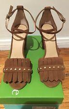 Kate Spade Brown Suede Kiltie Fringe Block High Heel Sandals 7