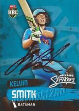 ✺Signed✺ 2015 2016 ADELAIDE STRIKERS Cricket Card KELVIN SMITH Big Bash League