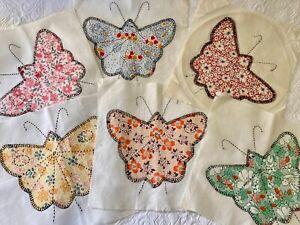 Lot 6 Vintage Quilt Blocks BUTTERFLY  Hand Sewn Applique 1920s 30s Cotton Fabric