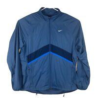 Mens Nike Full Zip Windbreaker Track Jacket Sz XL Blue Mesh Lined