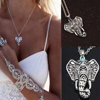 Womens vintage Fashion Elephant New Silver pendant chain choker charm Necklace