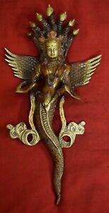 Serpent Snake Lady Brass Design Wall Sculpture Decor Naag Kanya Home Decor VR14