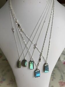 Rectangular Labradorite Nugget Pendant Necklaces on Sterling Silver Chains