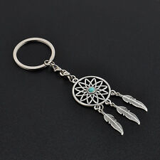 Cool Silver Tone Key Chain Ring Feather Tassels Dream Catcher Keyring Keychain
