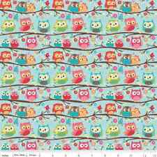 Jersey KNIT Fabric by Yard - Happy Flappers Owls in Blue - Riley Blake  cute owl