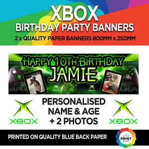 2 x XBOX ONE GAMER BIRTHDAY PARTY PAPER BANNERS PERSONALISED 800mm x 250mm