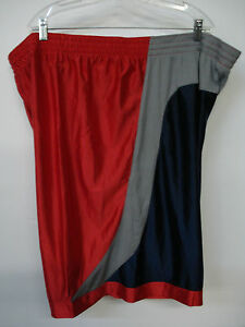 NWOT Men's  Athletic Works Silky Shorts Size 3XL Red/Navy/Grey #562A