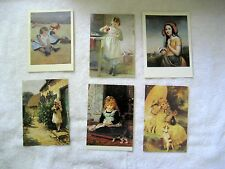 Lot of 6 Children Girls 19th Century Art Postcards Genre Paintings Domestic Home