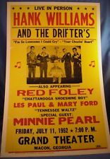 HANK WILLIAMS SR 50S 1952 MACON GA. CONCERT POSTER 7/11 THE DRIFTERS LES PAUL