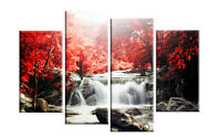 RED AUTUMN FOREST WATERFALL CANVAS WALL ART PICTURE 4 PANEL SPLIT  ARTWORK 40""