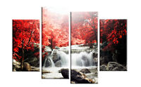 """RED AUTUMN FOREST WATERFALL CANVAS WALL ART PICTURE 4 PANEL SPLIT  ARTWORK 40"""""""