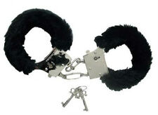 Black Fur Hen Party Love Cuffs - Furry Handcuffs To Arrest The Bride To Be!