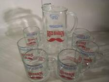 Vintage Seagrams Gin Liquor Cordial SET Red Baron Glasses Pitcher Bar Rare