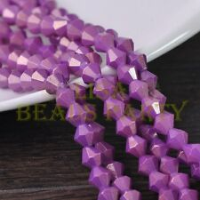 New 100pcs 4mm Bicone Gold Foil Faceted Glass Loose Spacer Beads Fuchsia