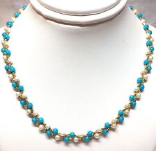 "Gold-Tone 3 Strand Blue & White Beaded Serpentine Chain Necklace - 16"" Long"