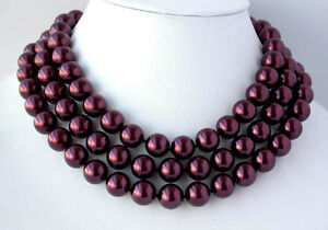 """X0246 Flossy 48"""" 12mm south sea shell pearl necklace"""