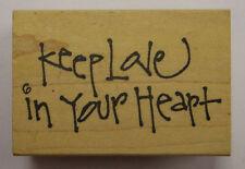 Sello de goma mantener amor en tu corazón-Madera montado PWC2547