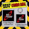 RED DWARF – LOGO- KEYRING 45mm X 45mm - 57mm  57mm FRIDGE MAGNET - COMBO DEAL -