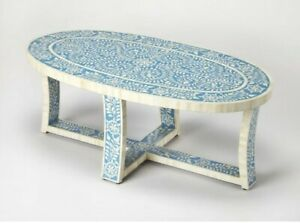Bone Inlay Coffee Table Blue White Floral Pattren (MADE TO ORDER)