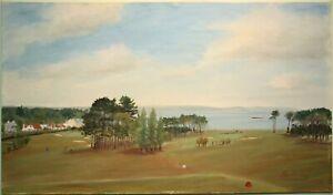 Original Irish Art Painting HELEN'S BAY GOLF COURSE BANGOR IRELAND by Alex Minty