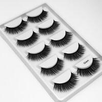 5Pairs 3D Mink Hair False Eyelashes Wispy Cross Long Lashes Makeup Eye Lashes.