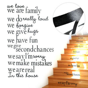 In This House Family Rules Large Stairs Vinyl Decal Stickers English lettering