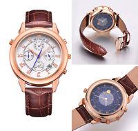 Novedad regala Megir Reloj lujo de hombre cronógrafo día doble dial correa piel