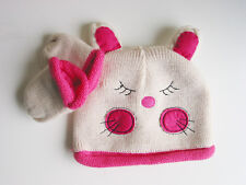Baby Girls Winter Warm Knit Rabbit Beanie Hat & Mitten Set