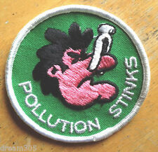 Vintage Patch Hippie POLLUTION STINKS Ecology Camping Hiking Skiing Patch
