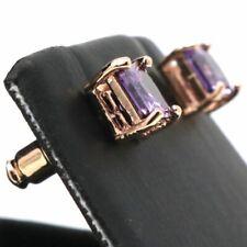 Large 1Ct Purple Amethyst Stud Earring Women Wedding Jewelry Gift 14K Rose Gold