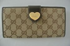 GUCCI GG Pattern Long Bifold Wallet Purse Canvas Leather Brown
