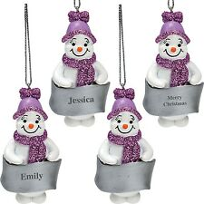 Snowman Lilac Glittered Christmas Tree Decoration - Personalise Your Own