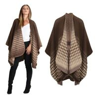 Womens New Reversible Wrap Over Knit Shawl Cape Cardigan Lots of Colours *LICK*