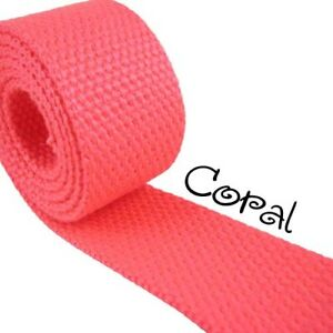 "1 Yard Coral 1.25"" Medium Heavy Weight Cotton Webbing"