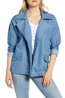Caslon Women Blue Chambray Jacket NWT Large Open Front Topper Lightweight Blazer