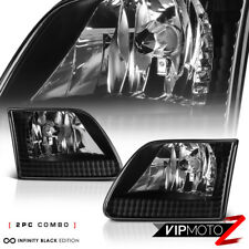 For 97-03 Ford F150 Pickup Truck Black Left+Right Pair Headlight Lamp Assembly