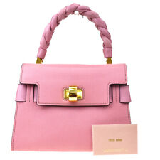 Authentic MIU MIU Logos Hand Bag Leather Pink Gold Tone Made In Italy 66MD309