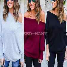 Womens Off Shoulder Knitted Pullover Sweater Batwing Jumper Baggy Tops UK 6-14