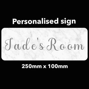 Personalised Sign Marble effect Bedroom Door Name Plaque Grey Text