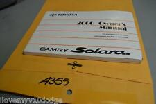 2000 00 TOYOTA CAMRY SOLARA OWNERS MANUAL GUIDE BOOK A355