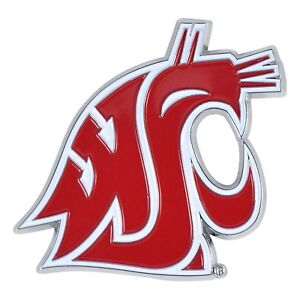 Washington State Cougars NCAA Colored Metal Car Auto Emblem Decal Ships Fast