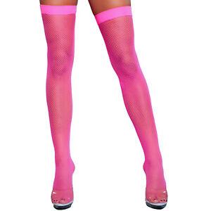 Fishnet Thigh Highs Stockings Nylons 80s Retro Neon Rave Costume Hosiery 1931