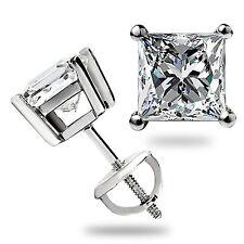 3.0 Ct Solitaire Princess Cut Stud Earrings Lab Diamond 14K White Gold Screwback