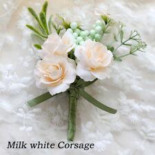 Groomsman Men/Women Corsage Flower Wrist Flower Brooch Groom Boutonniere Wedding
