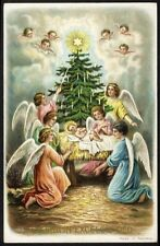 CHRISTMAS ANGELS Jesus in Manger Tree with Candles Postcard c 1910 Star Cherubs
